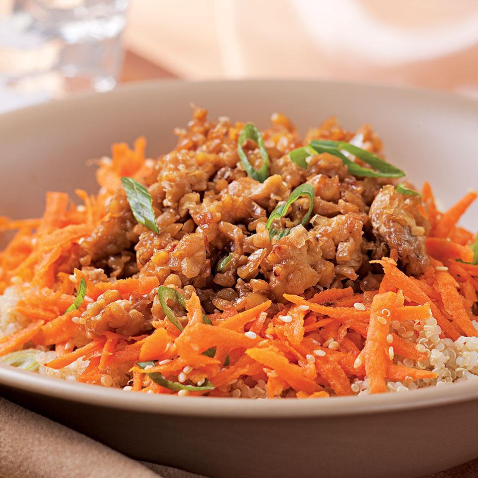 Sesame-Honey Tempeh & Quinoa Bowl EatingWell Test Kitchen