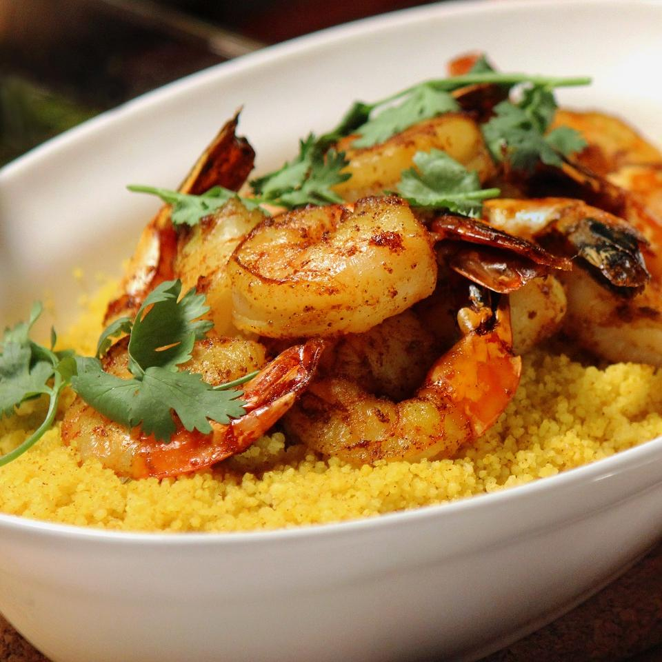 Spiced Couscous with Shrimp and Chermoula