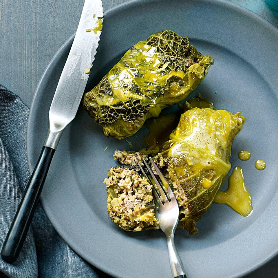 These Lebanese cabbage rolls are stuffed with lamb and infused with the flavors of turmeric, ground ginger and allspice.Source: EatingWell Magazine, September/October 2012