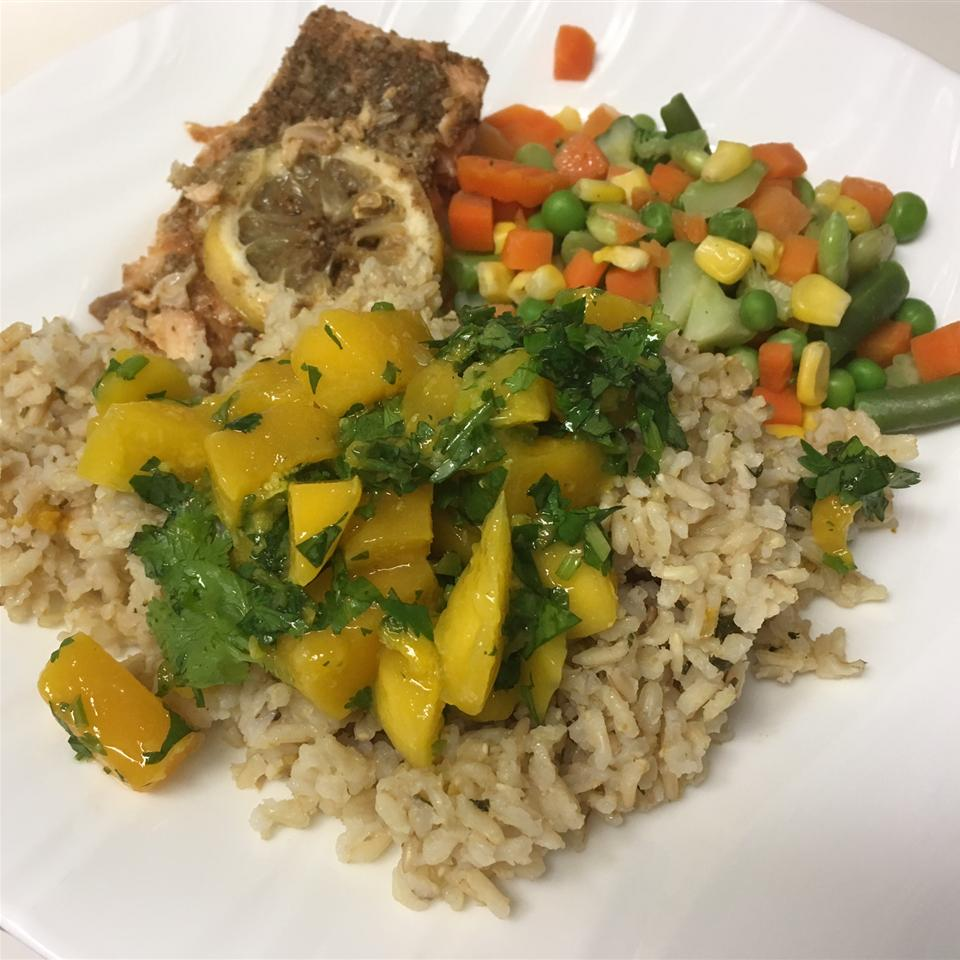 Baked Salmon with Tropical Rice PandaLuv