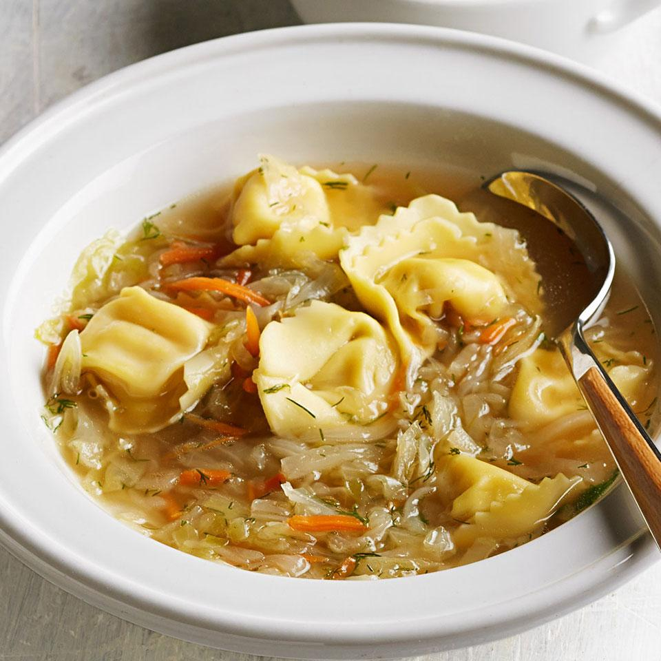 Many cultures have a version of dumplings; for Russians, they're called pelmeni. One of the ways they're often served is in a cabbage soup. We substitute easier-to-find tortellini in this healthy soup recipe with great results, but if you can find pelmeni, go ahead and use them.