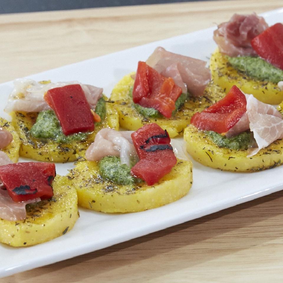 Lauren's Pesto Polenta Bites Lauren Caldaronello