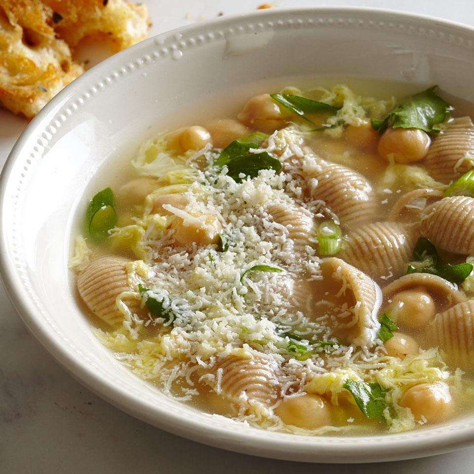 Italian egg-drop soup, Stracciatella, is traditionally a light soup made with just chicken broth, eggs and herbs. We added pasta, chickpeas and arugula to turn it into a meal. Serve with: Garlic bread and Caesar salad.