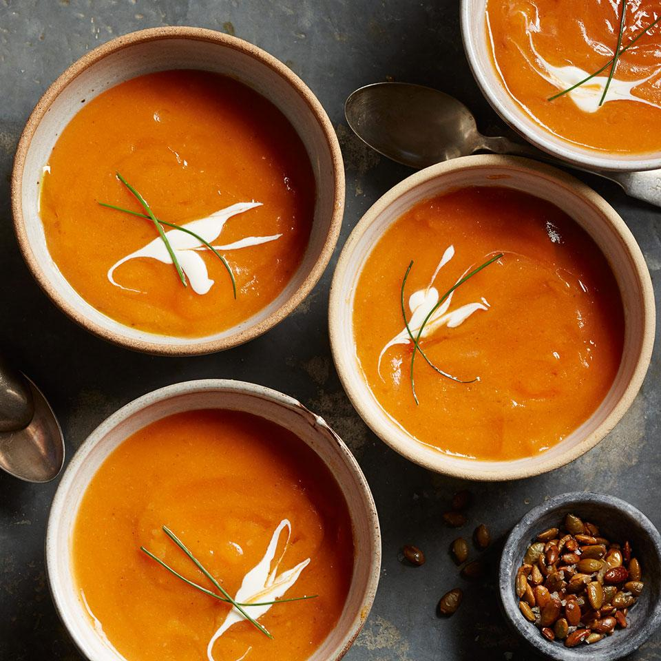 This silky-smooth butternut soup gets a hit of spice from chipotle, cloves and cumin. Adapted from Chef Jesús González, Chef of La Cocina Que Canta at Rancho La Puerta.
