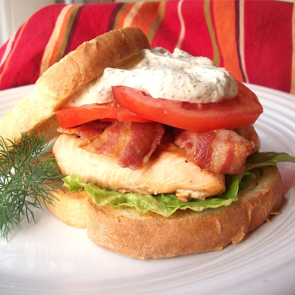 Grilled Salmon Sandwich with Dill Sauce CookinBug