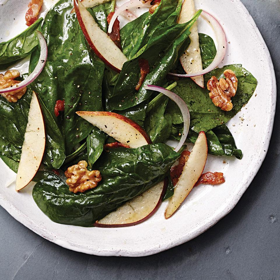 Warm Pear & Spinach Salad with Maple-Bacon Vinaigrette EatingWell Test Kitchen