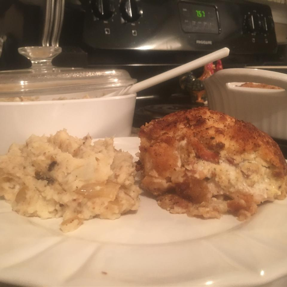 Feta and Bacon Stuffed Chicken with Onion Mashed Potatoes David W Copley