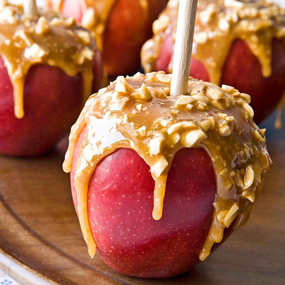 This healthy caramel apple recipe has just enough caramel to give a nice hit of salty-sweet flavor in each bite for a tasty dessert.