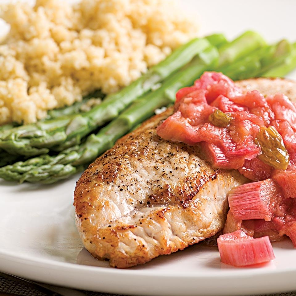 Turkey Cutlets with Rhubarb Chutney EatingWell Test Kitchen