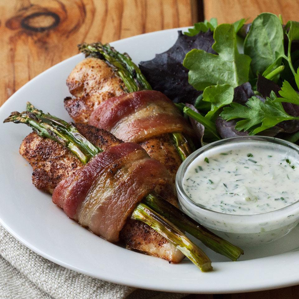 Bacon-Wrapped Chicken Tenders with Cucumber-Ranch Dressing Allrecipes Trusted Brands