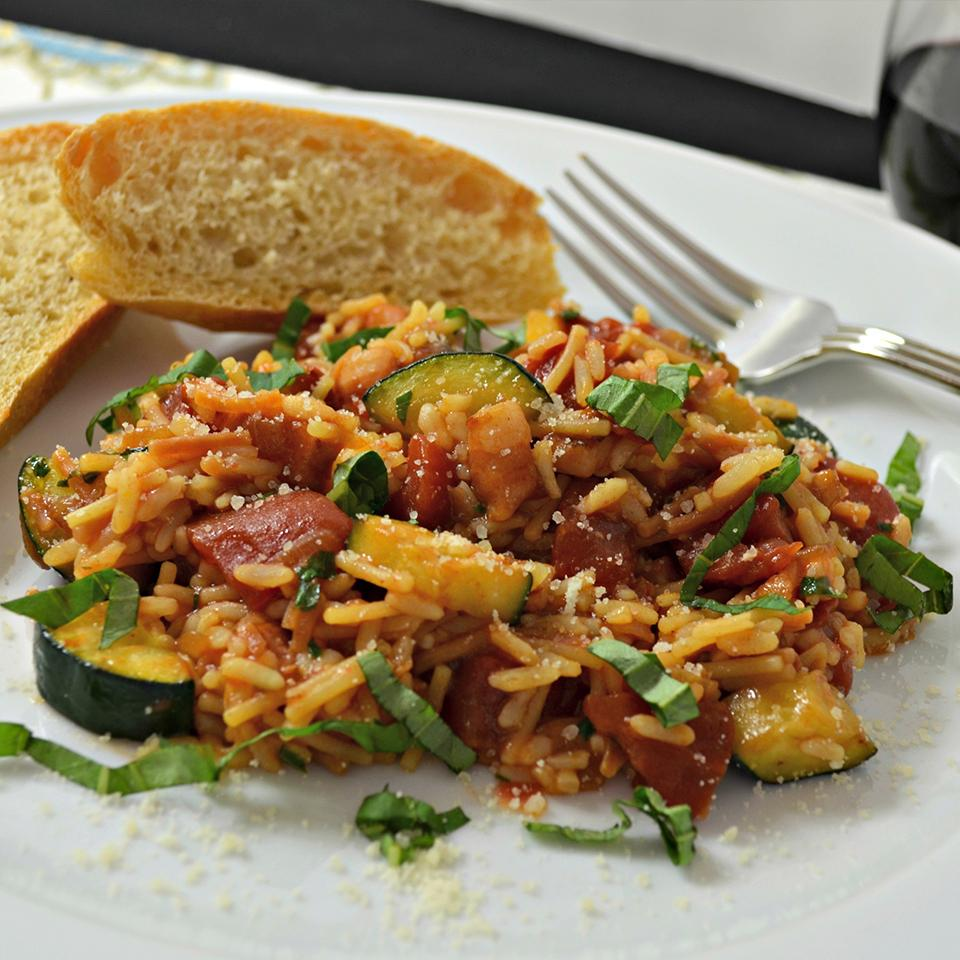 Harvest Tomato-Basil Rice with Pancetta