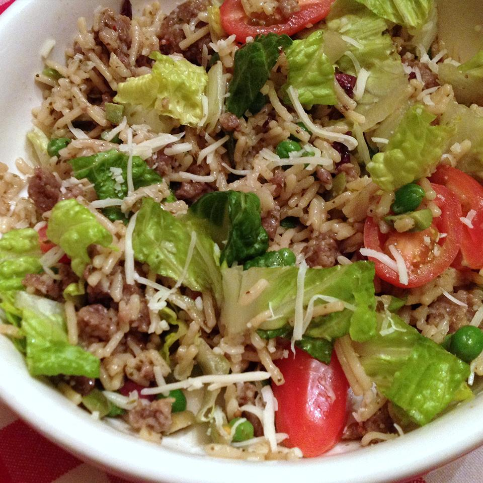 Warm Italian Rice Salad with Sausage and Romaine Allrecipes Trusted Brands