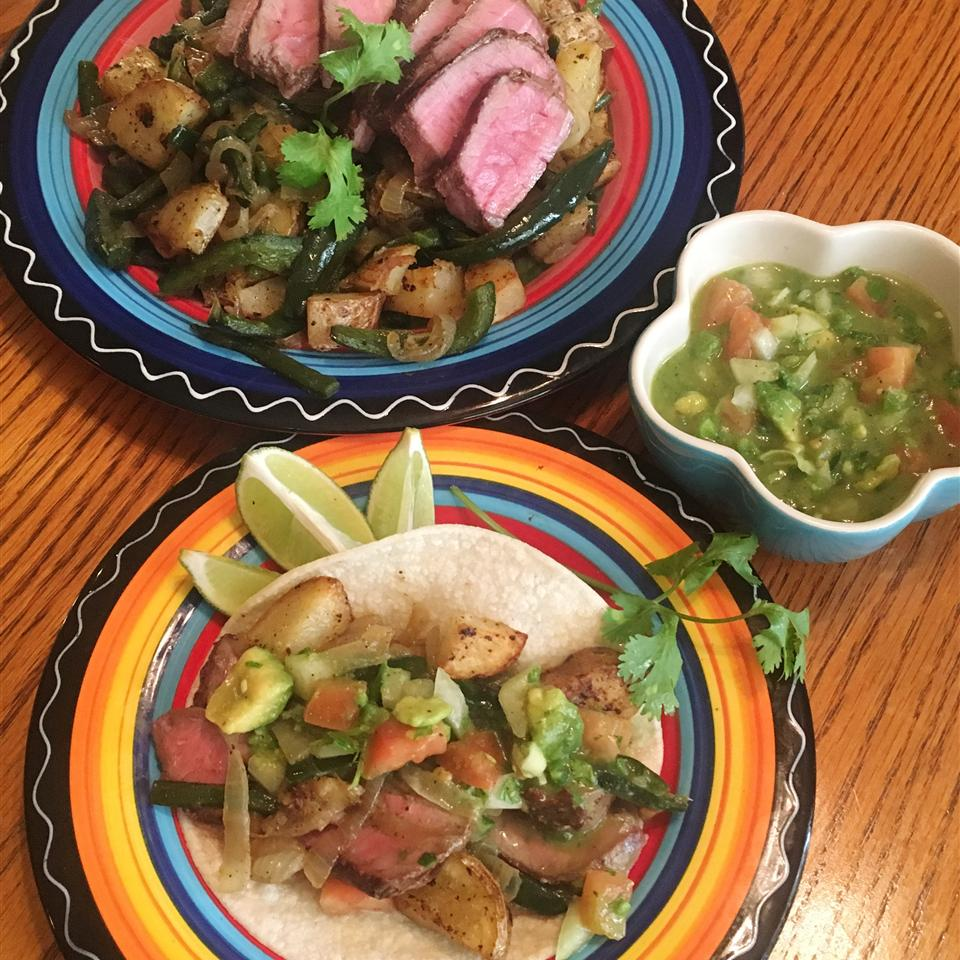 Steak and Potato Tacos with Poblano Chilies Yoly