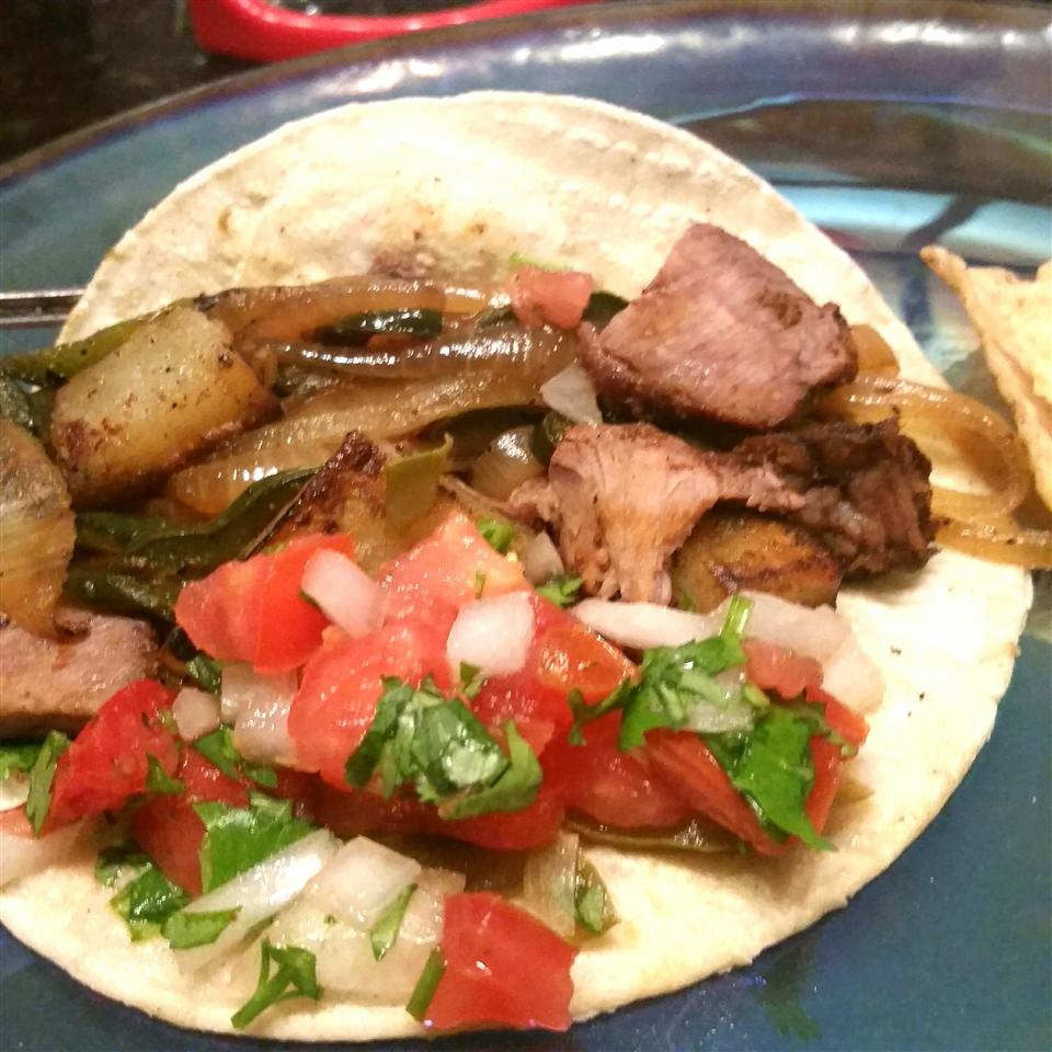 Steak and Potato Tacos with Poblano Chilies