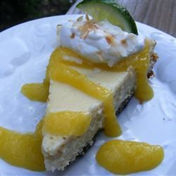 Coconut-Lime Cheesecake with Mango Coulis abapplez
