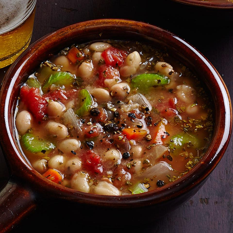 A simple, rich stew of white beans. Serve with Mediterranean Tuna Panini.