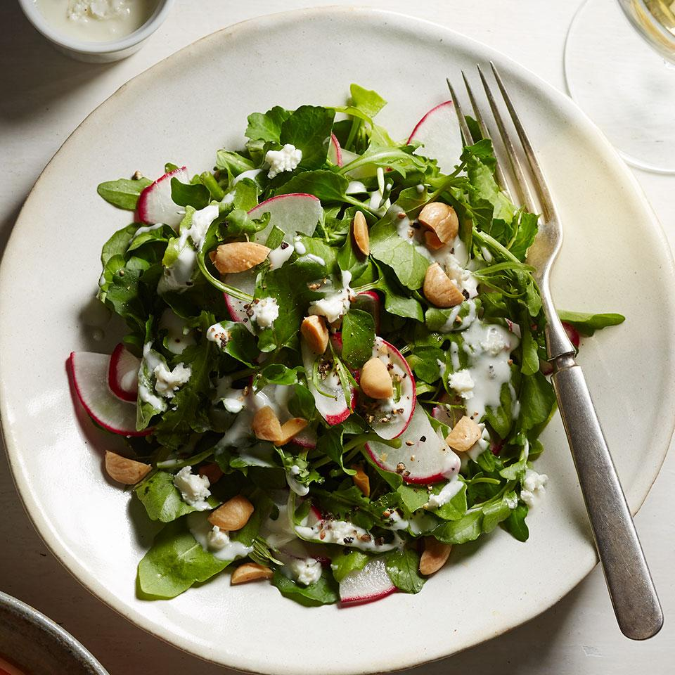 Sweet, rich-flavored Marcona almonds and salty feta cheese balance the flavor of the peppery greens and radishes in this arugula salad recipe. Always skinned, most Marcona almonds have already been sautéed in oil and lightly salted when you get them. Look for them in specialty stores and online at tienda.com.