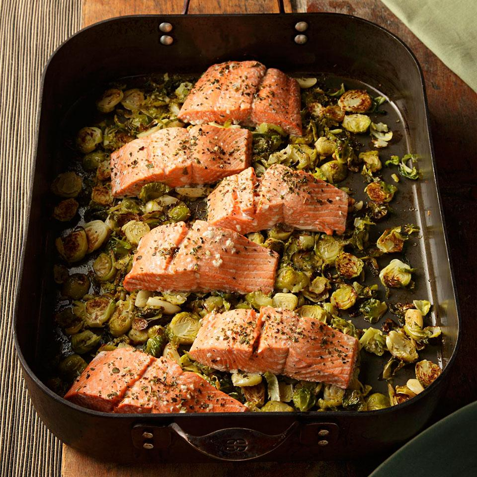 Garlic Roasted Salmon & Brussels Sprouts EatingWell Test Kitchen