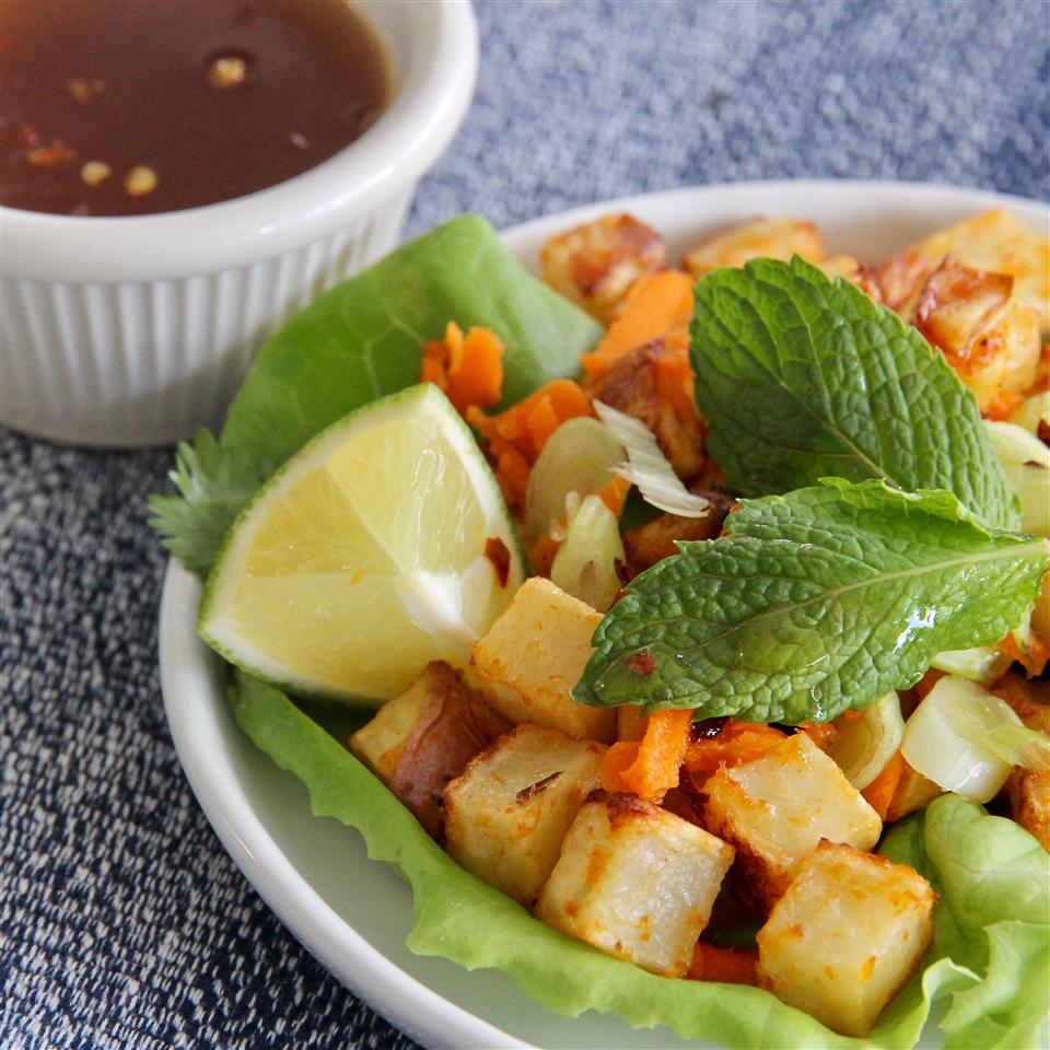 Thai Lettuce Cups with Red Curry Potatoes lutzflcat