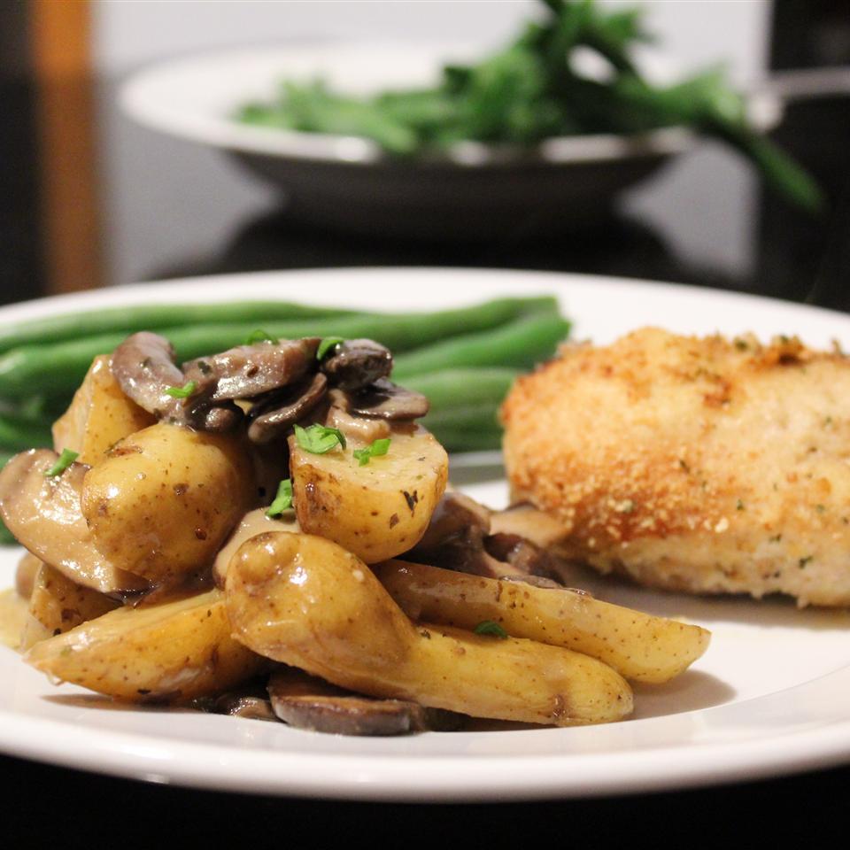 Pan Fried Fingerling Potatoes with Wild Mushroom Sauce