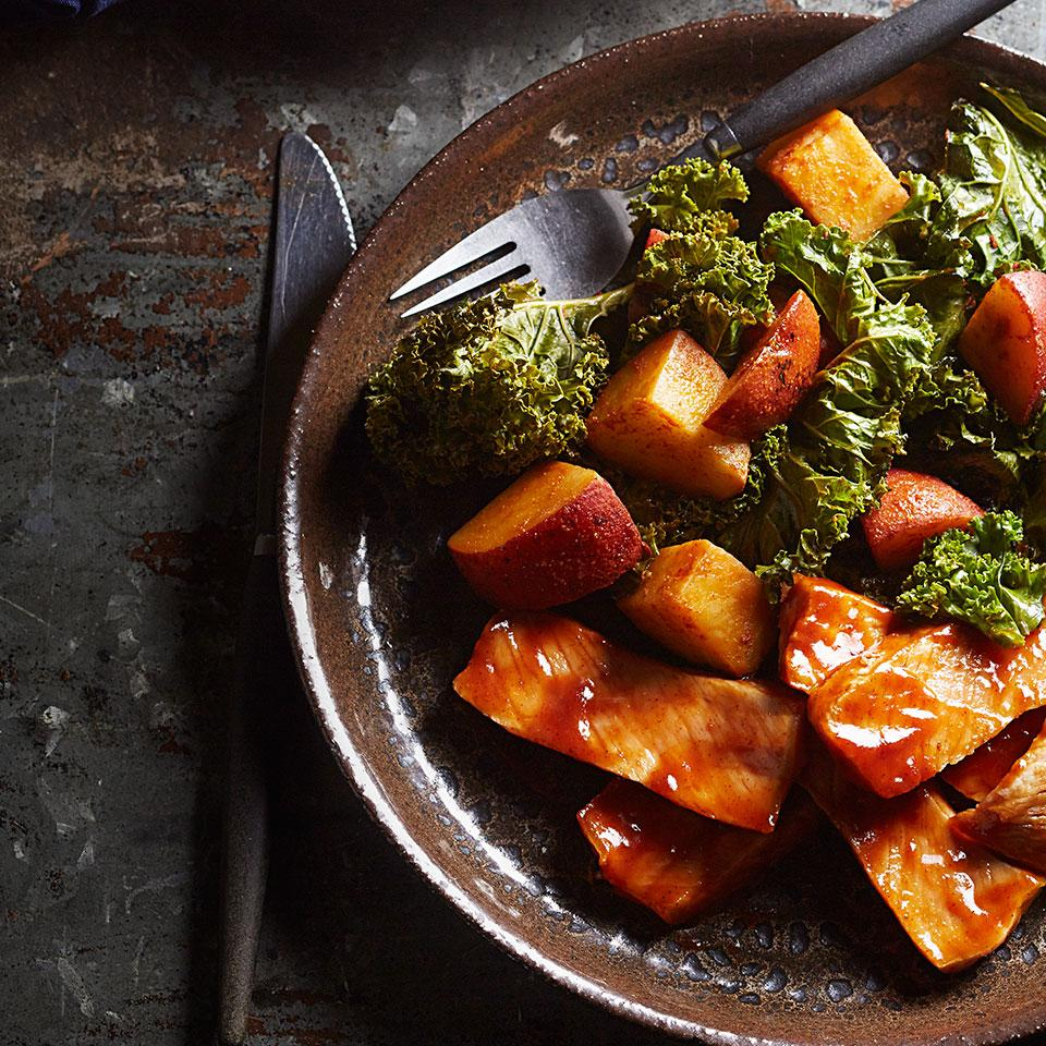 Barbecued Pork Chops with Roasted Potatoes & Kale Katie Webster