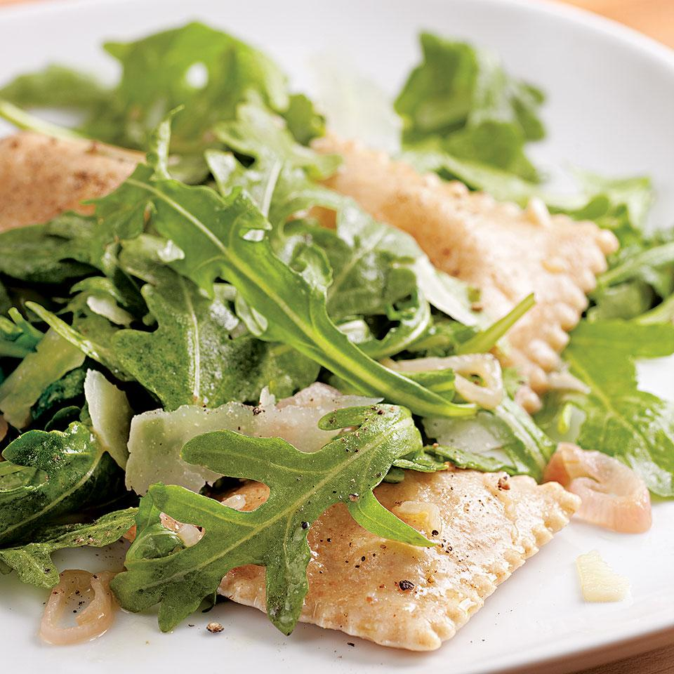 Elevate frozen ravioli with sizzled garlic and shallots, shaved pecorino and fresh arugula. Serve with: Whole-grain baguette and a light-bodied red wine, such as pinot noir. Source: EatingWell Magazine, September/October 2010
