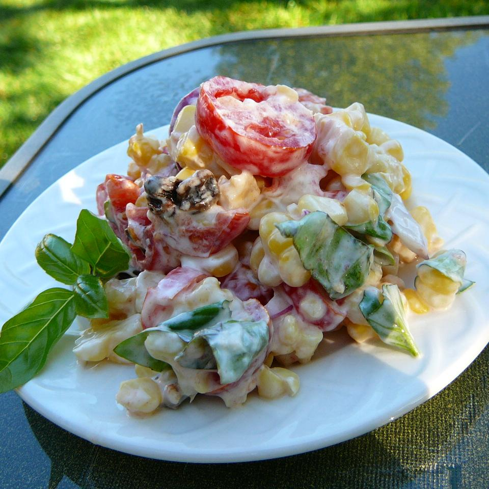 Creamy Cherry Tomato Salad with Fresh Basil, Corn and Onion USA WEEKEND Pam Anderson