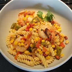 Linguine with Cajun-Spiced Shrimp and Corn KELLEY101