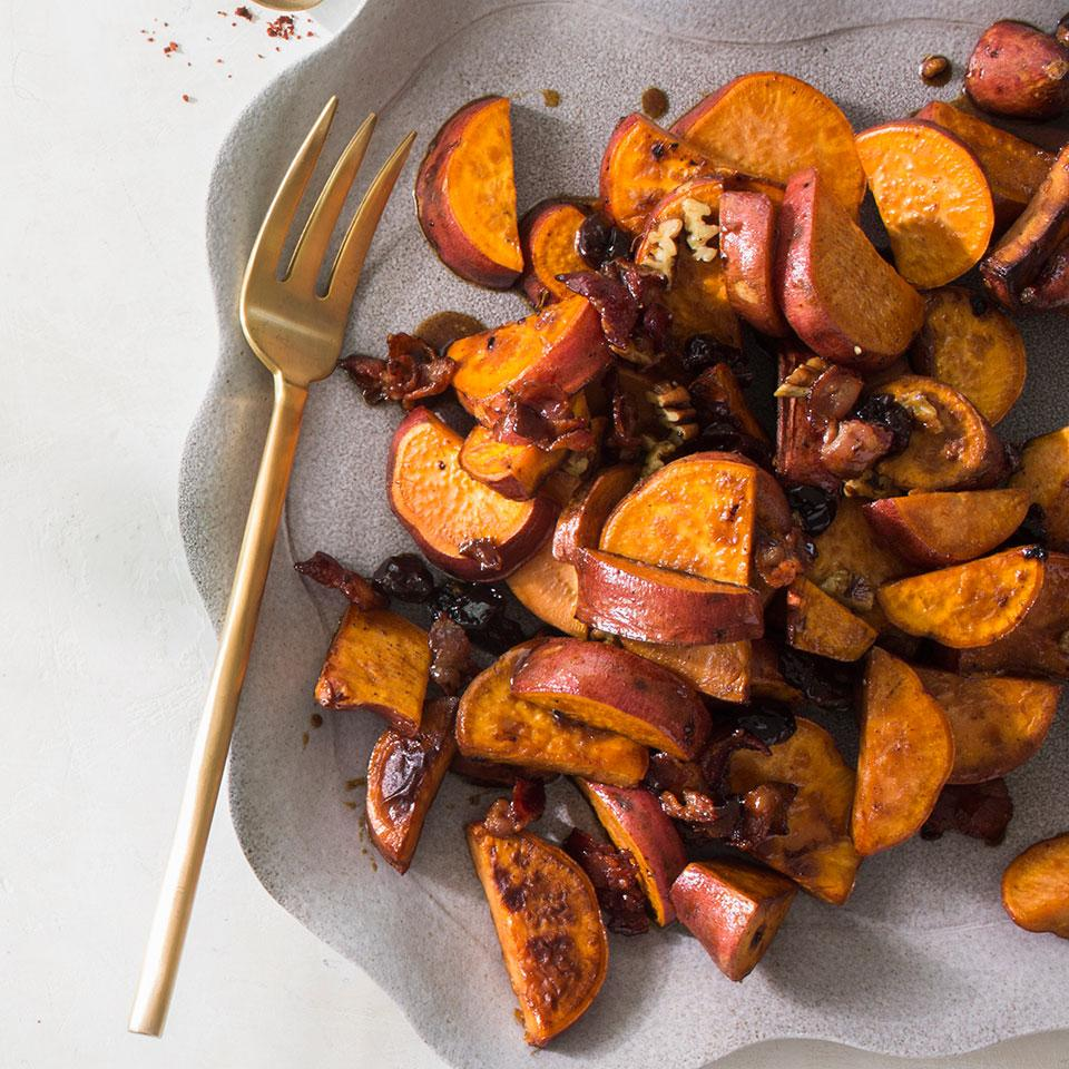Pan-Roasted Sweet Potatoes with Dried Cherries & Pecans Marcus Samuelsson