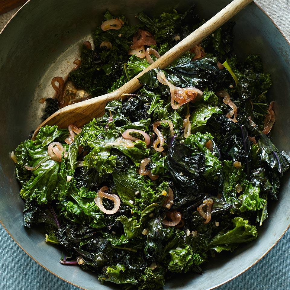 Wilted Kale with Warm Shallot Dressing EatingWell Test Kitchen