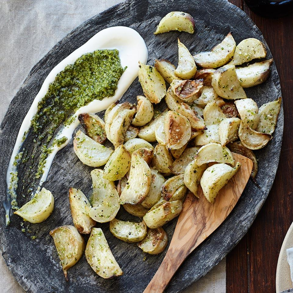 Braised Turnips with Crème Fraîche & Arugula Pesto EatingWell Test Kitchen