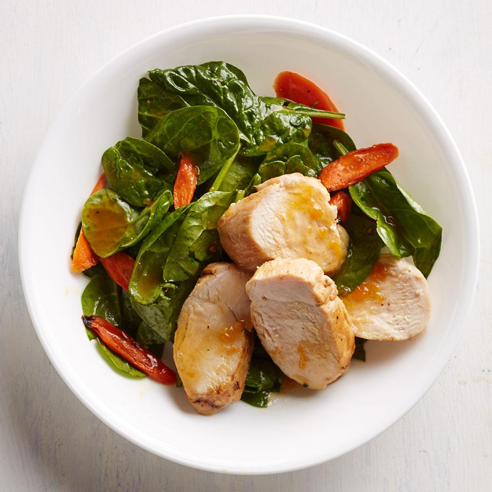 In this healthy chicken dinner recipe, searing the chicken on the stovetop then finishing it in the oven ensures juicy results. If you don't have apricot preserves, honey or maple syrup makes a nice substitution.