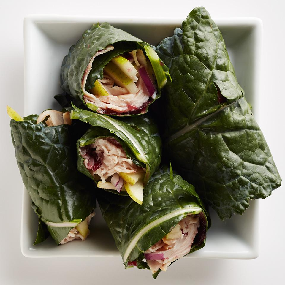 Using kale leaves instead of bread to wrap your filling makes this healthy turkey lunch recipe low-calorie. If you can't find lacinato, also known as Tuscan kale, try cabbage for your wrap.