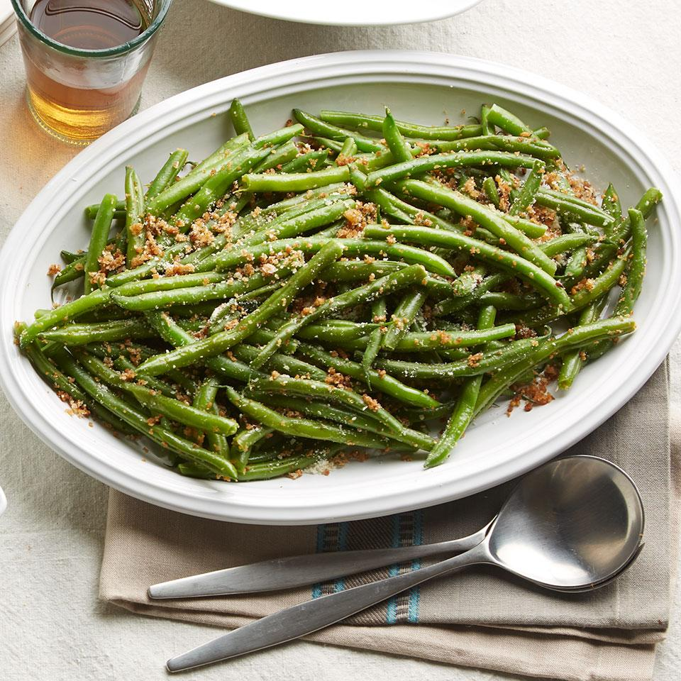 In this easy green bean recipe, browning the butter before tossing it with the breadcrumbs produces a nice nutty flavor. Serve this green bean dish as a healthy alternative to green bean casserole on Thanksgiving.