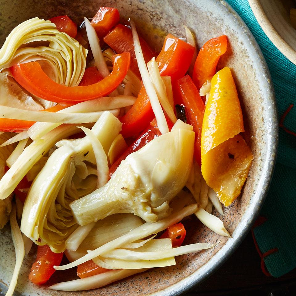 Trade in plain crudités for something with more panache with this quick marinated vegetable recipe. Soak bell peppers, fennel and frozen artichoke hearts in an orange- and oregano-flavored marinade and in just a couple hours you'll have a tasty antipasto ready to serve with your cheese plate.