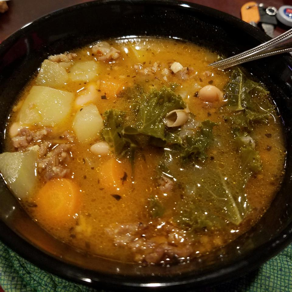 Almost Tuscan Sausage and Kale Soup