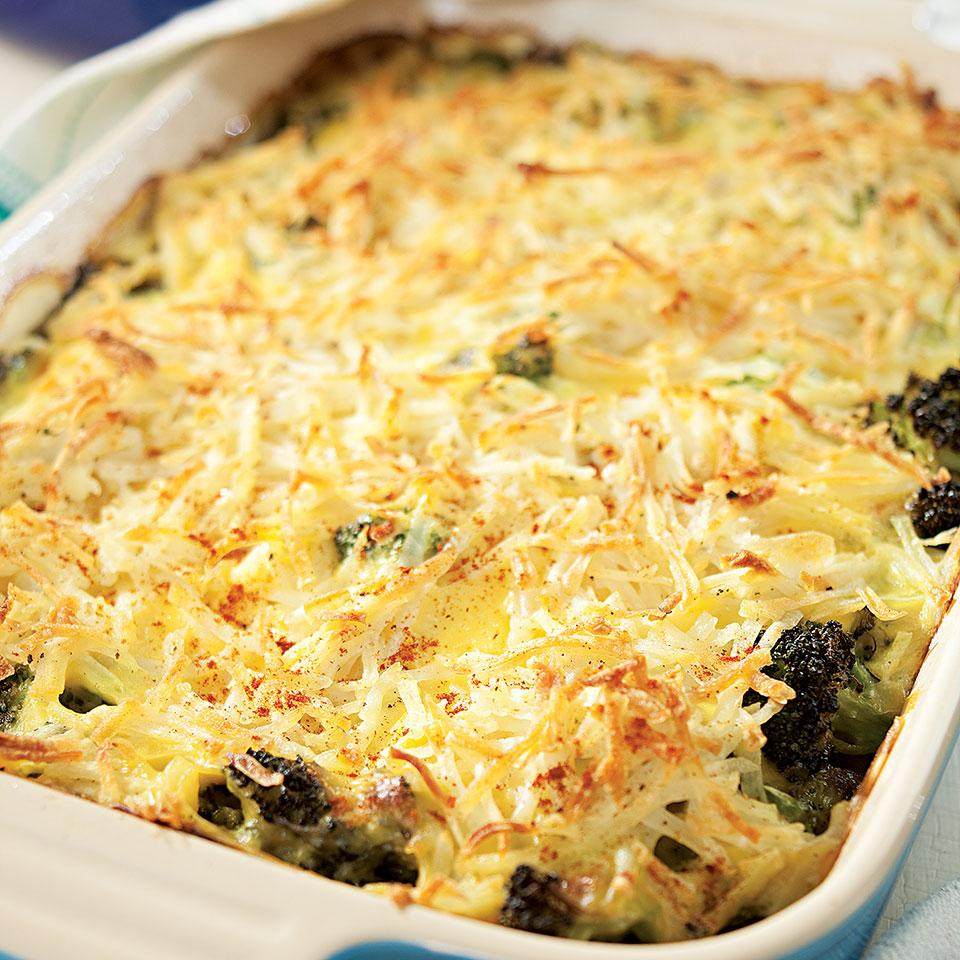 This easy casserole, full of ground beef, roasted broccoli and topped with hash browns, was inspired by the classic Minnesota Tater Tot hotdish. Roasting the broccoli before adding it to the casserole gives the whole dish a much more complex and exciting flavor, but it's by no means necessary. If you want to keep it simple, skip roasting the broccoli (Step 2) and use 6 cups frozen broccoli, thawed, in its place (omit 1 tablespoon oil, as well). Source: EatingWell Magazine, September/October 2010