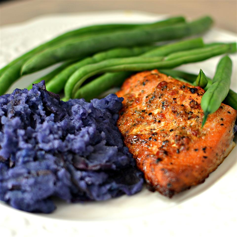 Carrie's Salmon with Purple Pureed Potatoes and French Green Beans