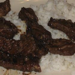 Kicky Steak Strips with Rice McBacon