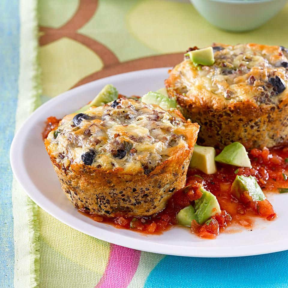 This healthy quinoa cake recipe is packed with protein from the black beans, eggs, cottage cheese and quinoa. We like to serve the quinoa cakes with a mouthwatering and incredibly easy blender salsa; if you don't like the heat, leave out the chipotle pepper. We like the look of red quinoa, but any color quinoa will work just as well.Source: EatingWell Magazine, March/April 2014