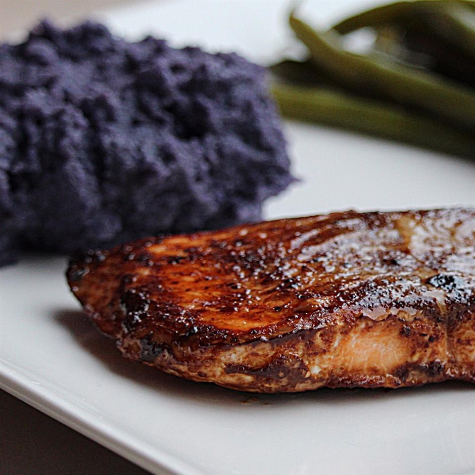 Carrie's Salmon with Purple Pureed Potatoes and French Green Beans Buckwheat Queen