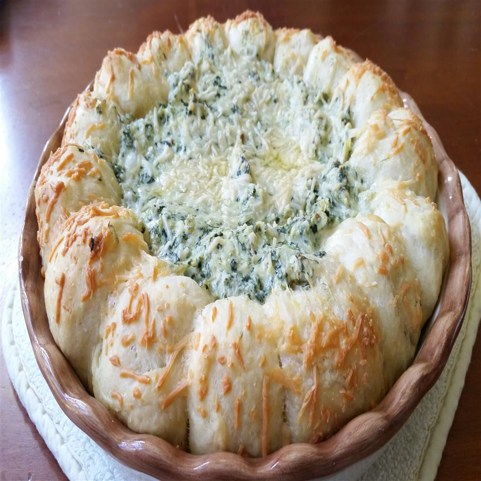 Spinach and Artichoke Dip in Pizza Dough Ball Ring Twila Davis Reed
