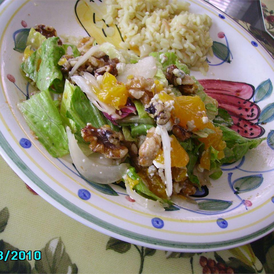 Orange, Walnut, Gorgonzola and Mixed Greens Salad with Fresh Citrus Vinaigrette Christina