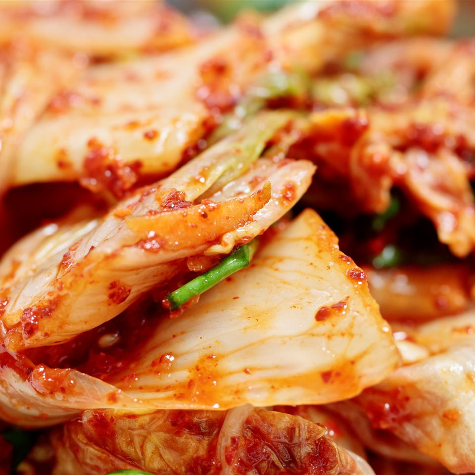 Kimchi is served with almost every meal in Korean cooking. This spicy fermented cabbage is considered an absolutely fundamental component of Korean cuisine. Kimchi is typically made with cabbage but can be made with radish or other vegetables, and can also be altered to be spicier.