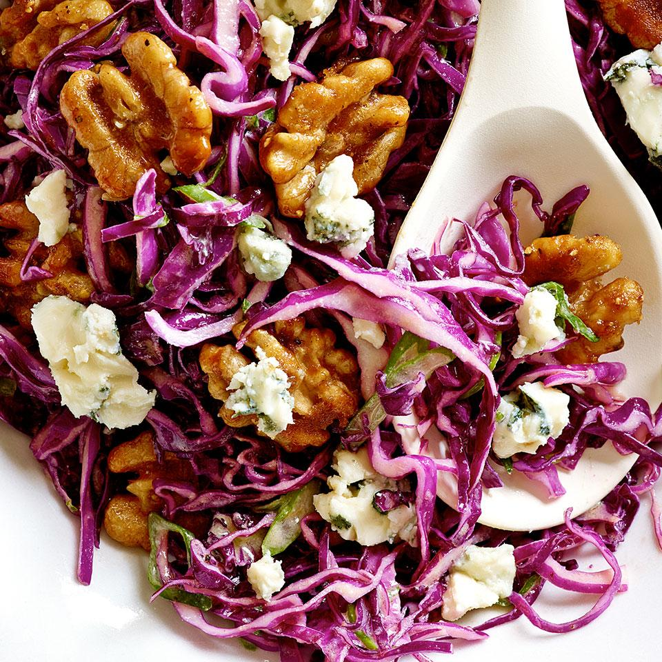 Red Cabbage Salad with Blue Cheese & Maple-Glazed Walnuts Kathy Gunst