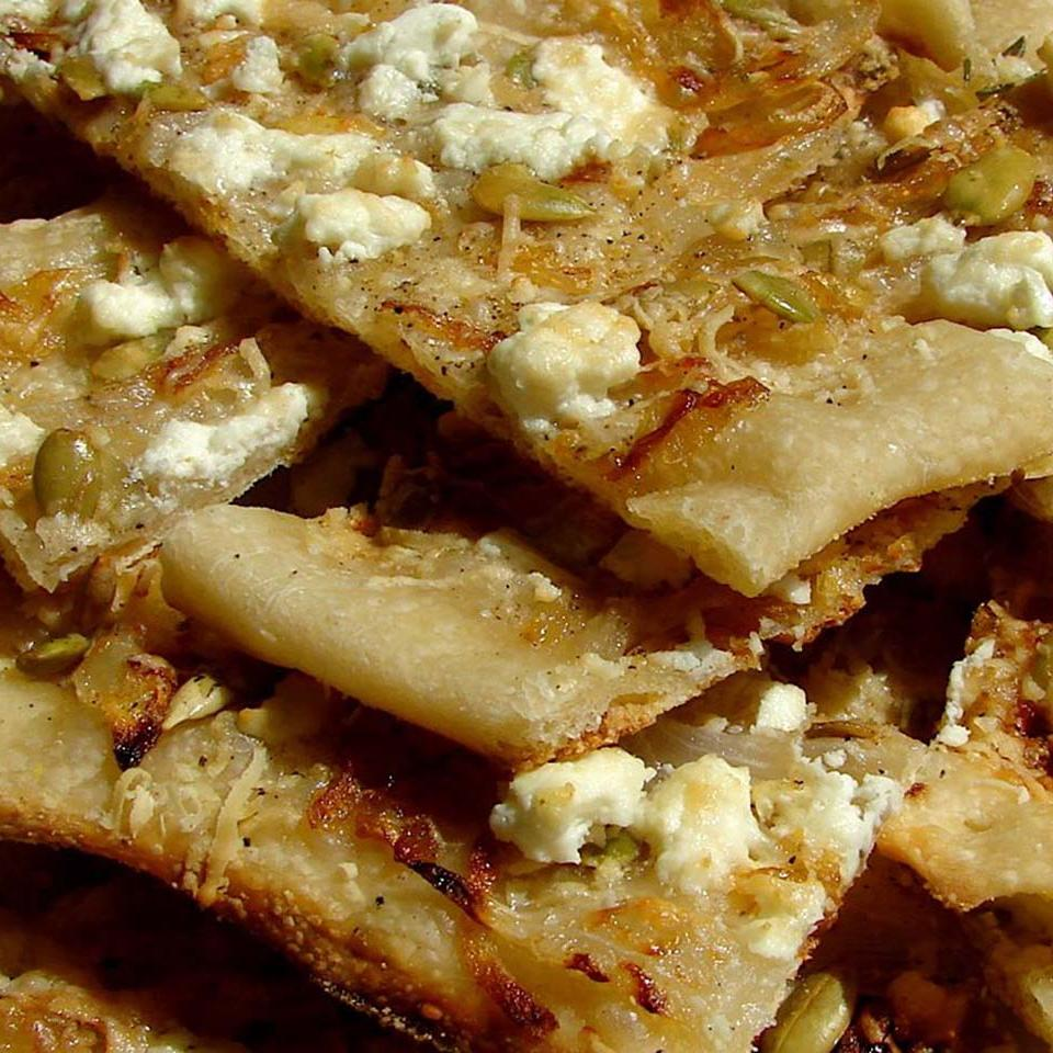 Pumpkin Seed Flatbread with Sweet Onions and Feta