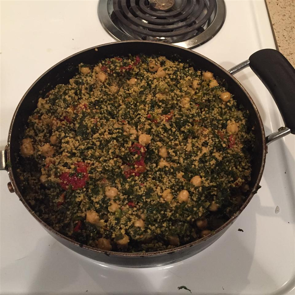 Curried Couscous with Spinach and Chickpeas