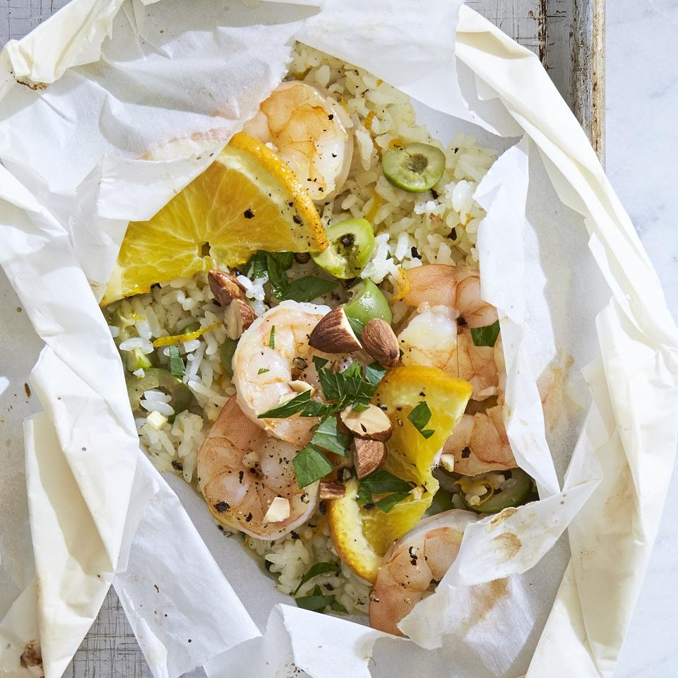 Shrimp and Rice Packets with Olives and Oranges Allrecipes Trusted Brands