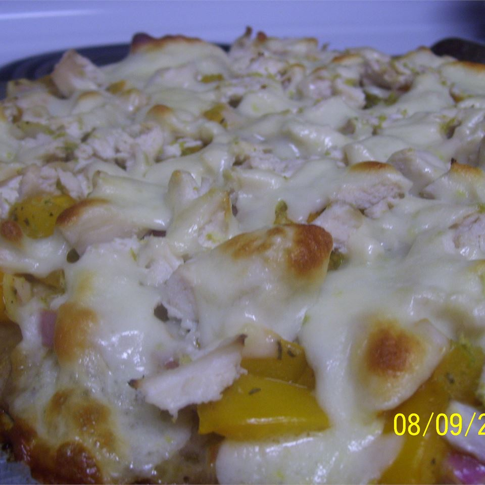 Blackened Chicken Pizza with Yellow Tomato Salsa