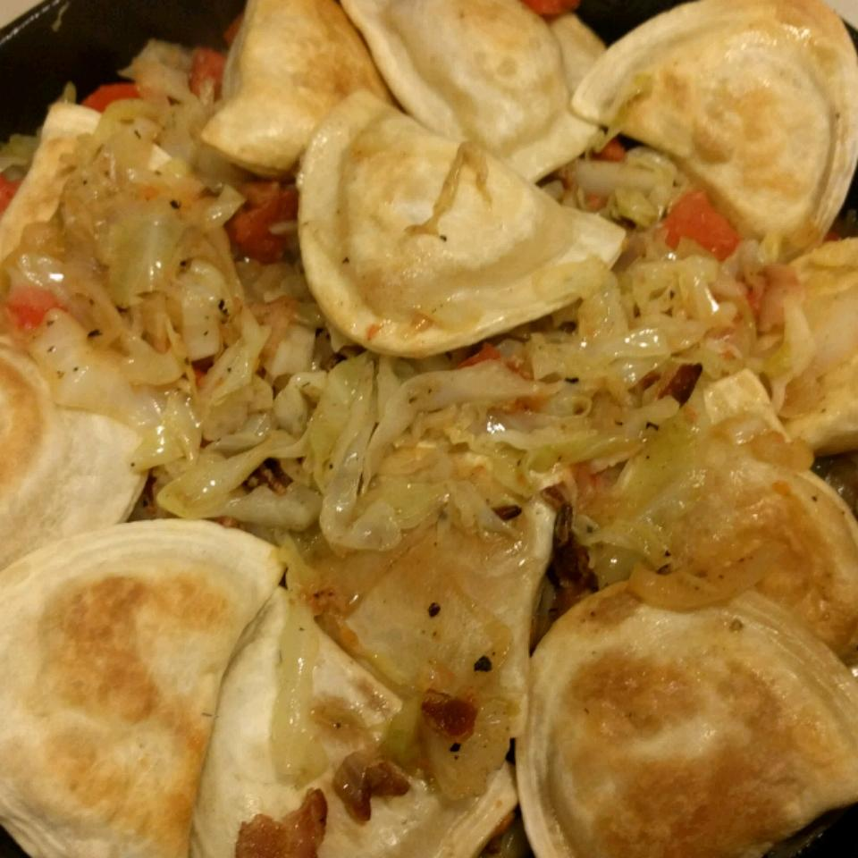 Pierogies and Cabbage